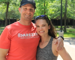 Thanks to Scott Flathouse for this photo of me and James the day after IMTX. James is wearing a Dare2Tri shirt and has is arm around my shoulder.